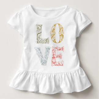 Colorful Hand-drawn Floral Love | Ruffle Tee