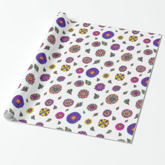 Colorful Hand Drawn Flowers Botanical Pattern Wrapping Paper