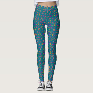 Colorful Hand Drawn Flowers Teal Calico Pattern Leggings
