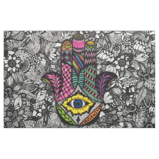 Colorful Hand Drawn Hamsa Hand an Floral Drawings Fabric