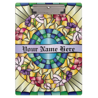 Colorful Hand-Drawn Jewel Stained Glass Flowers Clipboard