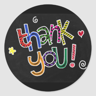 Colorful Hand Drawn Thank You Classic Round Sticker