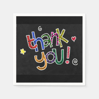 Colorful Hand Drawn Thank You Disposable Napkin