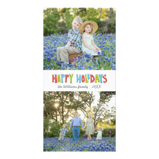 Colorful Hand Lettered Happy Holiday Two Photo Card