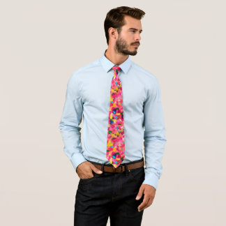 Colorful Hand Painted Artistic Abstract Hipster Tie