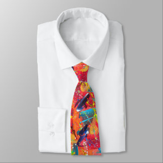 Colorful Hand Painted Artistic Boho Hipster Wild Tie