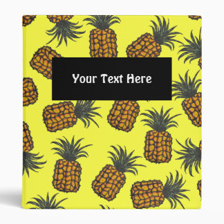 colorful hand painted tropical pineapple pattern 3 ring binders