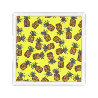 colorful hand painted tropical pineapple pattern acrylic tray
