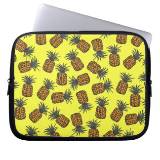 colorful hand painted tropical pineapple pattern laptop sleeve