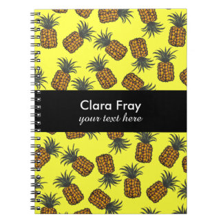 colorful hand painted tropical pineapple pattern spiral notebook