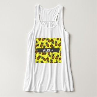 colorful hand painted tropical pineapple pattern tank top