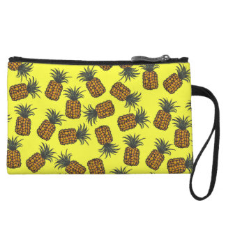 colorful hand painted tropical pineapple pattern wristlet