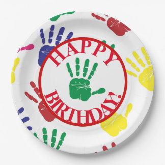 Colorful Hand Print Fifth Birthday Party Paper Plate