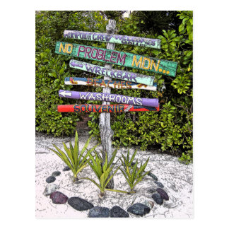 COLORFUL HANDMADE WOODEN SIGNS /RUM PT., GR.CAYMAN POSTCARD