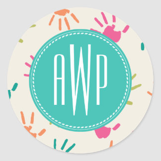 Colorful Handprints Monogram Teacher Round Sticker