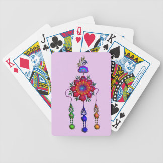 colorful hanging flowers bicycle playing cards