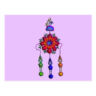 colorful hanging flowers postcard