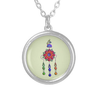 colorful hanging flowers silver plated necklace
