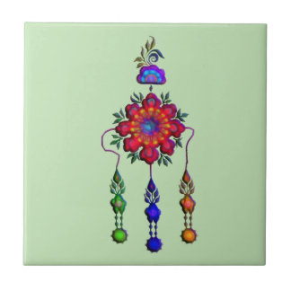 colorful hanging flowers tile