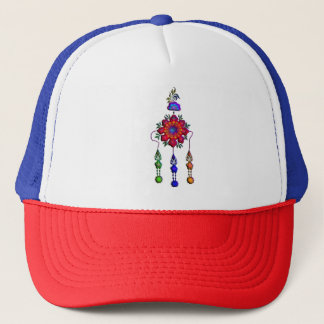 colorful hanging flowers trucker hat
