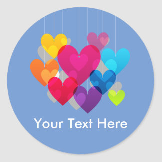 Colorful Hanging Hearts Personalized Classic Round Sticker