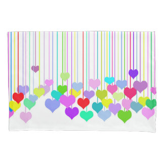colorful hanging hearts pillowcase