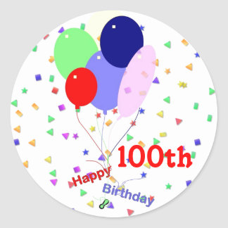 Colorful Happy 100th Birthday Balloons Classic Round Sticker