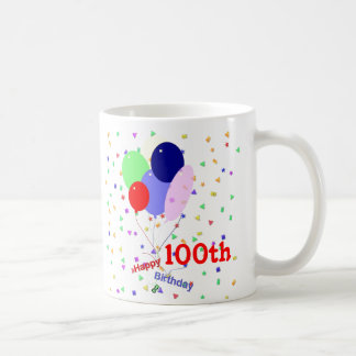 Colorful Happy 100th Birthday Balloons Coffee Mug