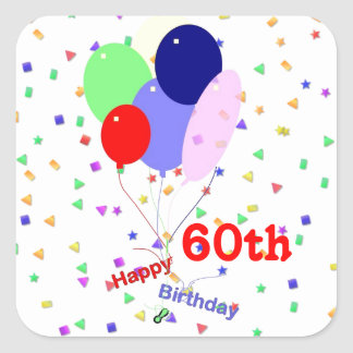 Colorful Happy 60th Birthday Balloons Square Sticker