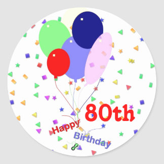 Colorful Happy 80th Birthday Balloons Round Sticker