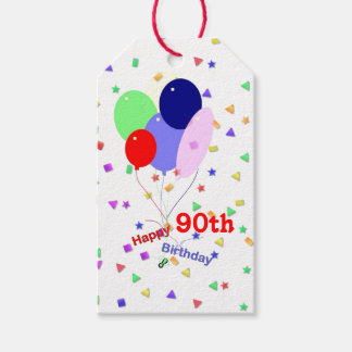 Colorful Happy 90th Birthday Balloons Pack Of Gift Tags