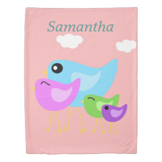 Colorful happy bird family pink duvet cover