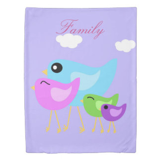 Colorful happy bird family purple duvet cover