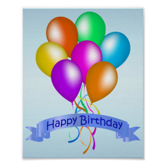 Colorful Happy Birthday Balloons Banner Party Poster