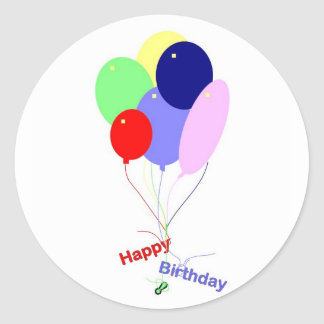 Colorful Happy Birthday Balloons Classic Round Sticker