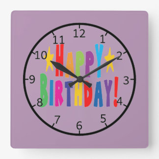 Colorful Happy Birthday Text Clocks