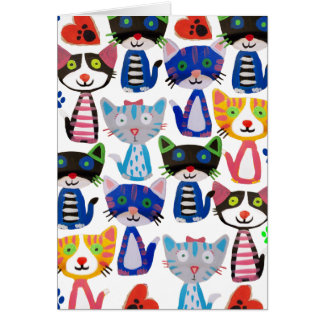 colorful happy cats card
