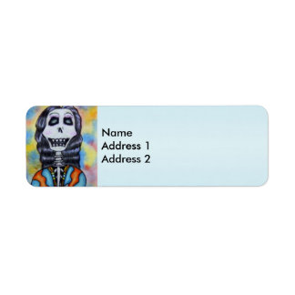 Colorful Happy Day of the Dead Skeleton Return Address Label