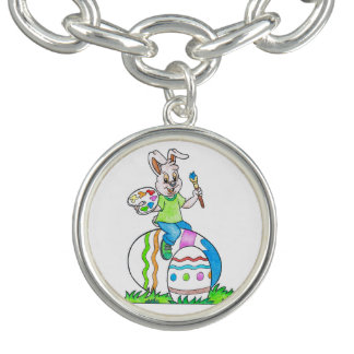 Colorful Happy Easter Bunny Kids Drawing Bracelet
