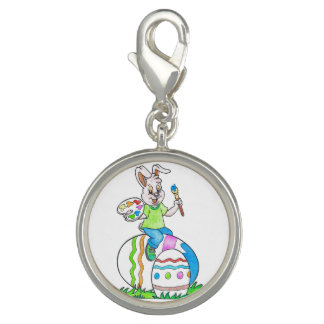 Colorful Happy Easter Bunny Kids Drawing Charm