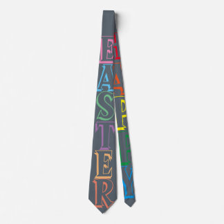 Colorful Happy Easter Greeting Text Tie