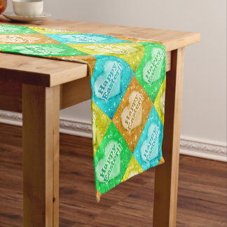 Colorful Happy Easter Pattern Short Table Runner
