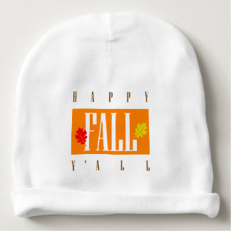 Colorful Happy Fall Y'All Autumn Leaves Baby Beanie