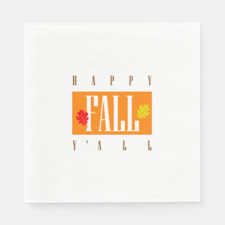 Colorful Happy Fall Y'All Autumn Tailgate Paper Napkin