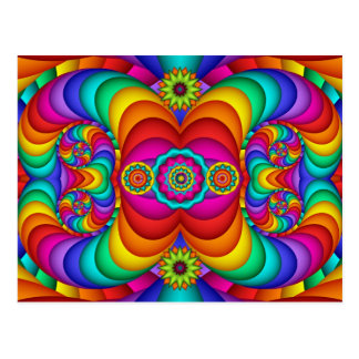 Colorful Happy Hippie Birthday Postcard