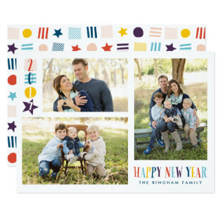 Colorful Happy New Year Icons 3-Photo Card