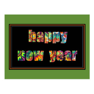 Colorful Happy New Year Postcard