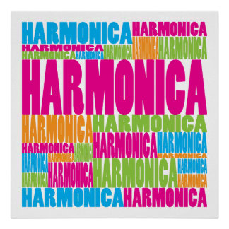 Colorful Harmonica Poster