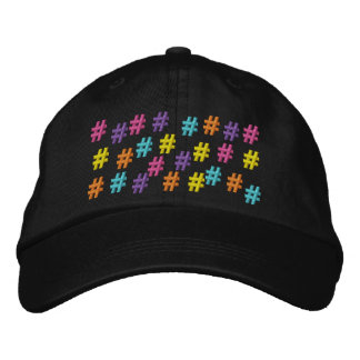 Colorful Hash Tag or Number Sign Embroidered Hat