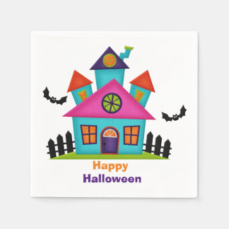 Colorful Haunted House Cocktail Napkins Disposable Napkin